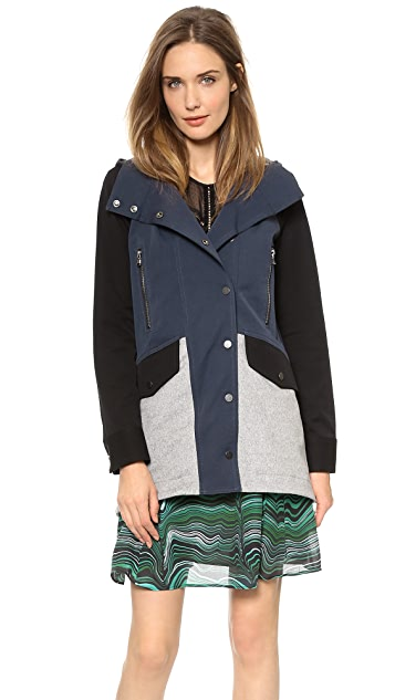 Veronica Beard Bi-Stretch Combo Parka