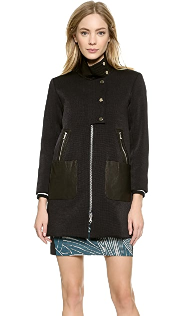 Veronica Beard Mod Coat with Leather Moto Dickey