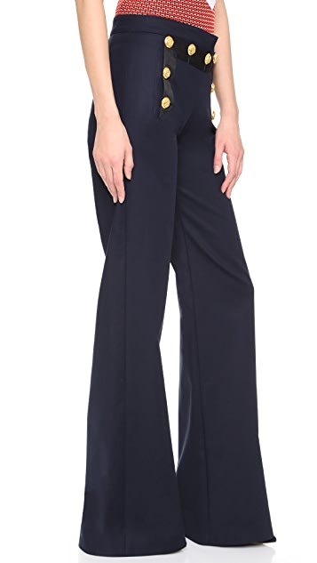 Veronica Beard Tide Line Wide Leg Sailor Pants