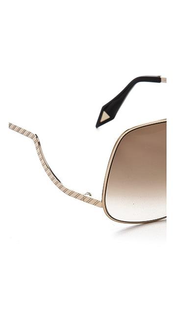 Victoria Beckham Metal Drop Temple Sunglasses