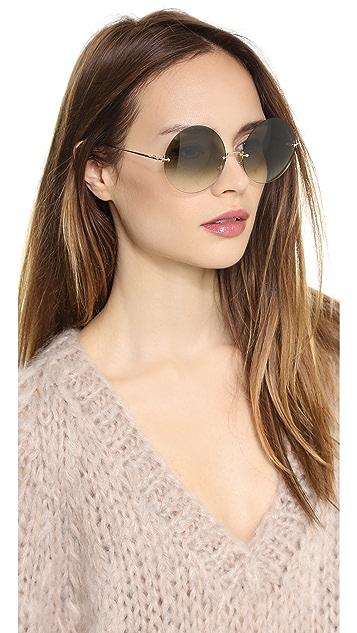 Victoria Beckham Rimless Round Large Sunglasses