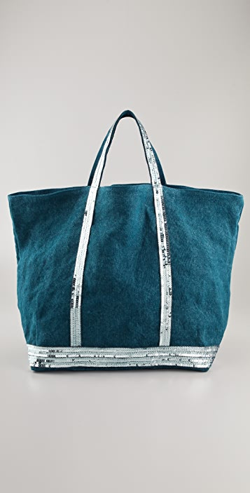 Vanessa Bruno Medium Linen Tote with Sequin Trim