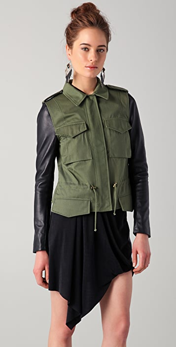 VEDA Jasper Jacket with Leather Sleeves
