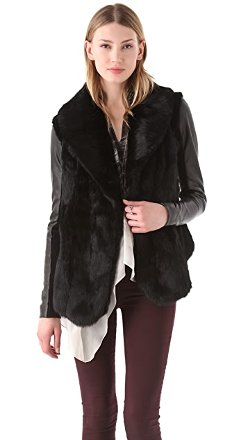 VEDA Stella Fur Jacket with Leather Sleeves