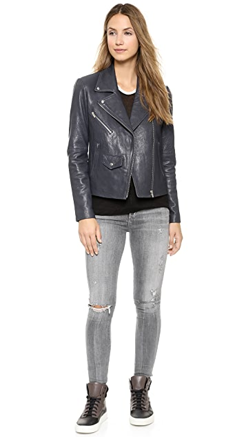 VEDA Lazer Classic Leather Jacket