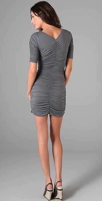 Velvet Ruched V Neck Dress