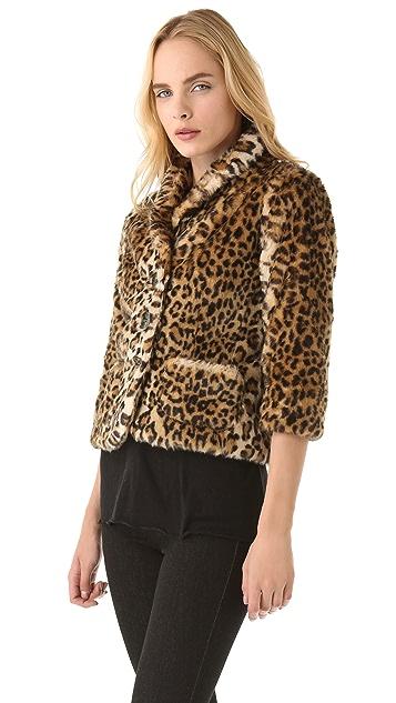 Velvet Cam Faux Fur Blazer