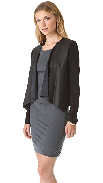 Velvet Purity Cardigan with Faux Leather Detail