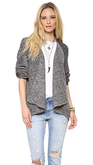 Velvet Cardigan with Shawl Collar