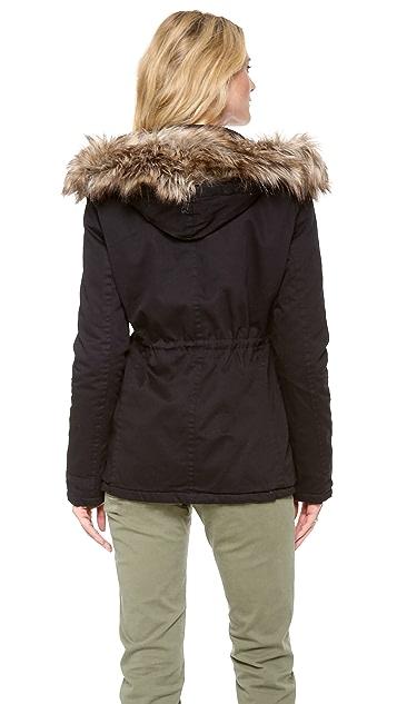Velvet Parka with Faux Fur Hood