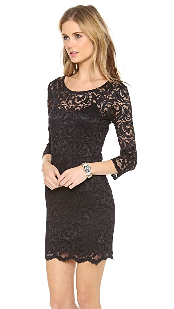 Velvet Long Sleeve Stretch Lace Dress