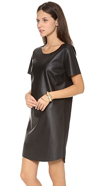Velvet Faux Leather Dress