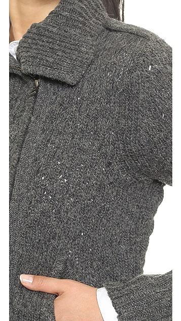 Velvet Moto Sweater Jacket