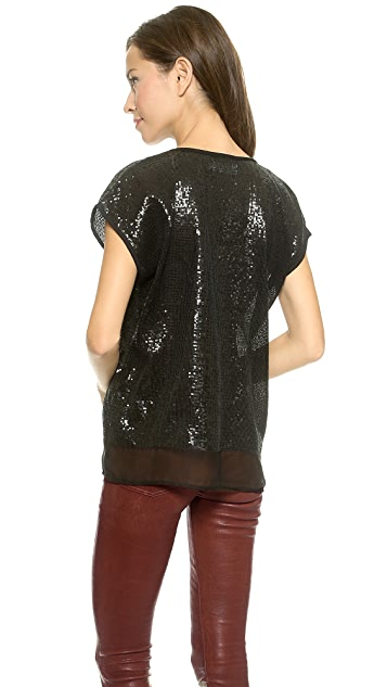 Velvet Sequin Chiffon Top
