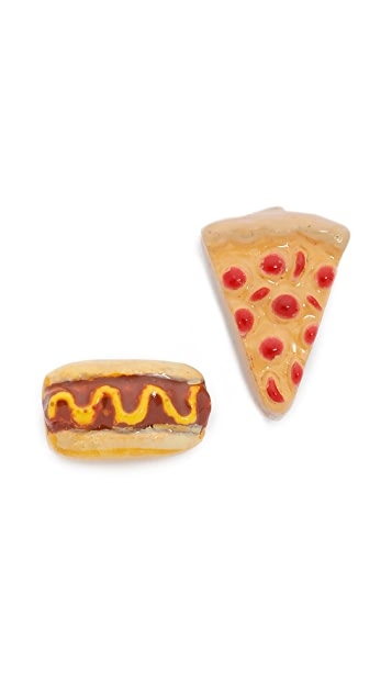 Venessa Arizaga Snack Attack Pizza + Hotdog Earrings