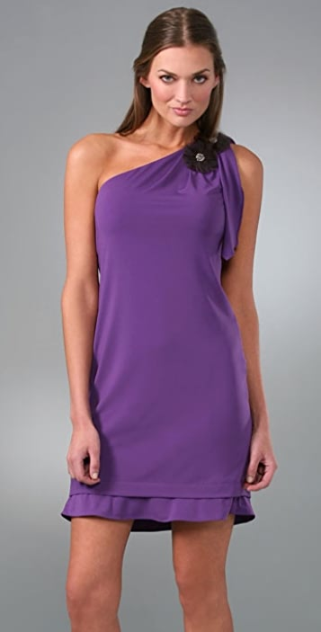 Vera Wang One Shoulder Dress with Flowers