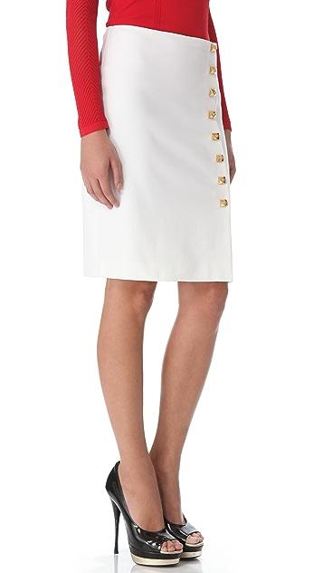 Versace Gold Button Pencil Skirt
