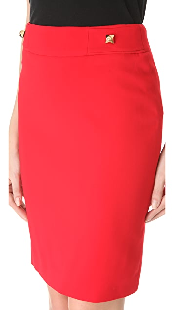 Versace Red Cady Skirt