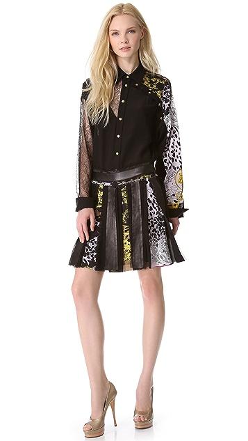 Versace Silk Miniskirt with Leather Trim