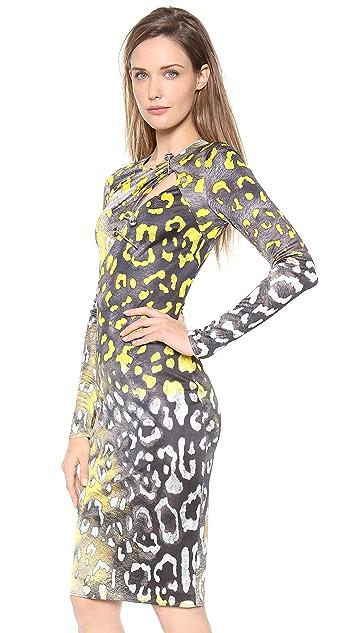 Versace Long Sleeve Slash Dress