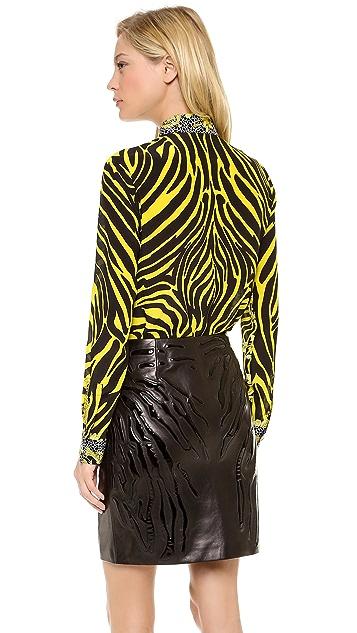 Versace Long Sleeve Paisley Blouse