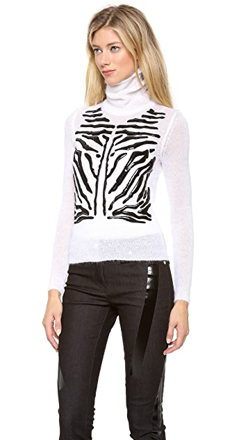 Versace Mohair Turtleneck Sweater with Tiger Stripes