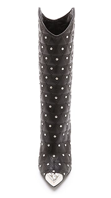 Versace Studded Stiletto Cowboy Boots