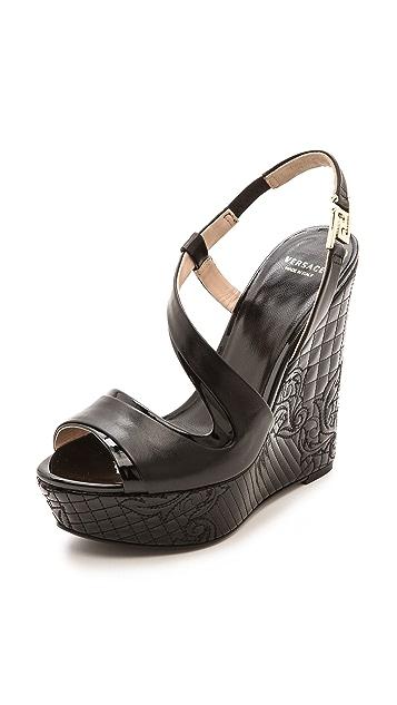 Versace Leather Platform Wedges