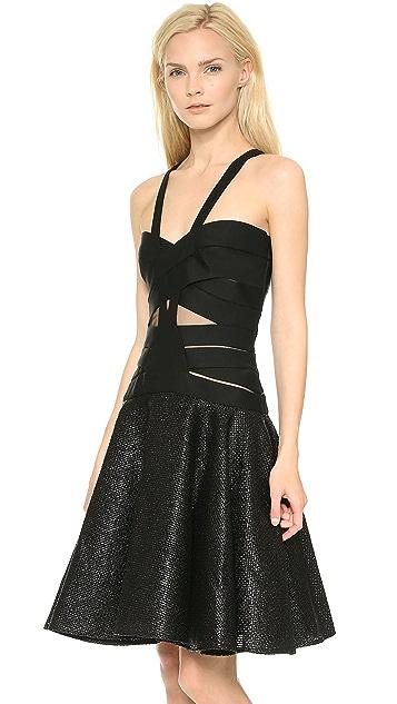 Versace Crisscross Full Skirt Dress