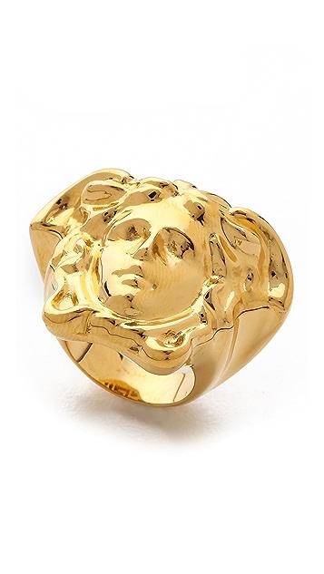 Versace Gold Tone Medusa Ring