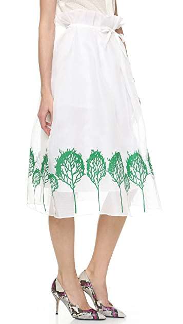 Vika Gazinskaya Full Skirt with Tree Pattern