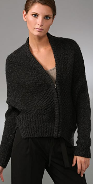 Vince Inside Out Crop Cardigan Sweater