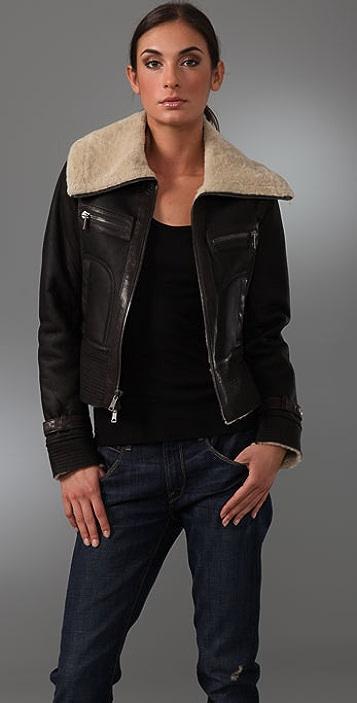 Vince Leather Aviator Jacket