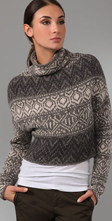 Vince Crop Intarsia Sweater