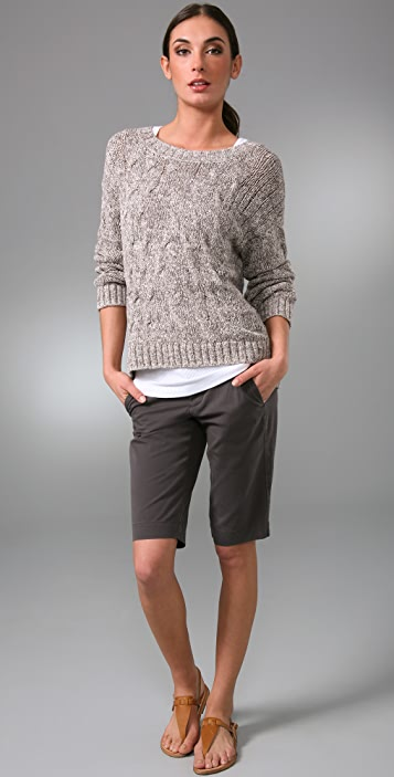 Vince Cropped Cable Knit Sweater