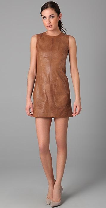 Vince Sleeveless Leather Dress