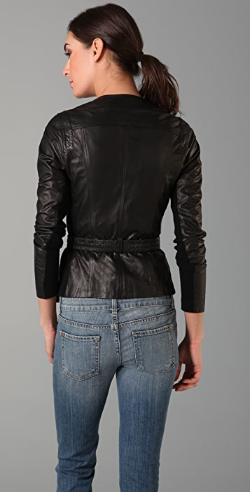 Vince Belted Leather Utility Jacket