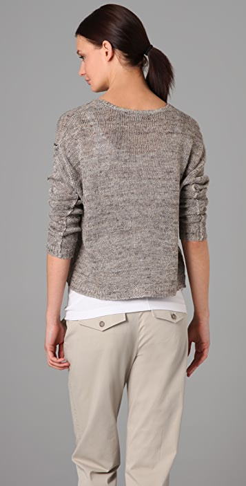 Vince Split Neck Cropped Sweater