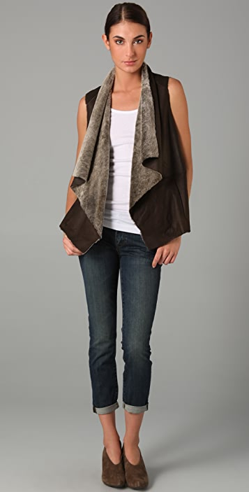 Vince Draped Shearling Vest