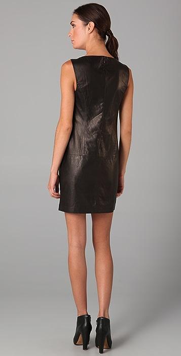 Vince Leather Boat Neck Dress