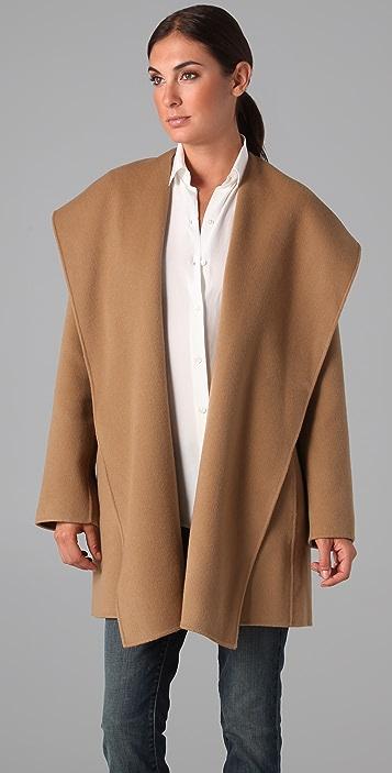 Vince Hooded Drape Coat