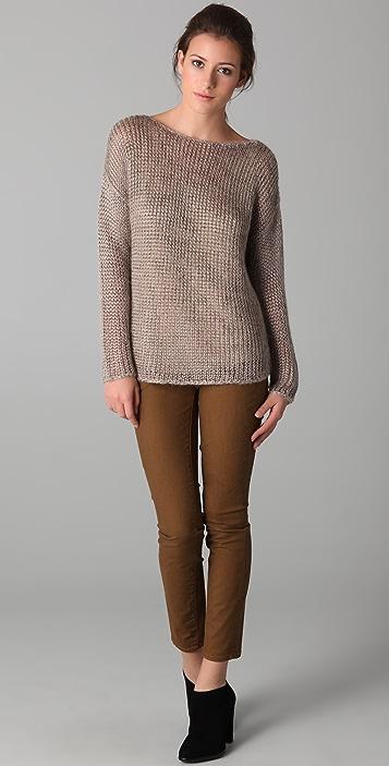 Vince Fuzzy Metallic Wide Neck Sweater