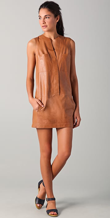 ee5cc6aa1fd Vince Sleeveless Leather Shirtdress | SHOPBOP