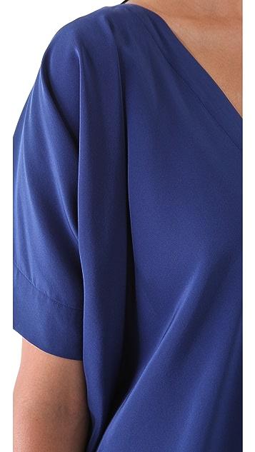 Vince V Neck Silk Dress