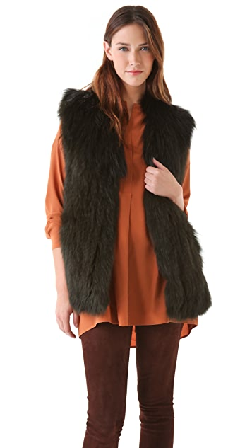 Vince Overdyed Fox Fur Vest