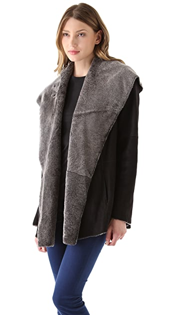 Vince Hooded Shearling Coat