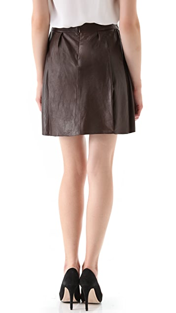 Vince Boxer Leather Skirt