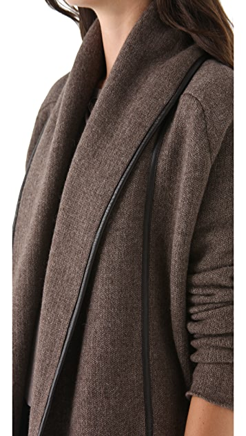Vince Car Coat with Leather Trim