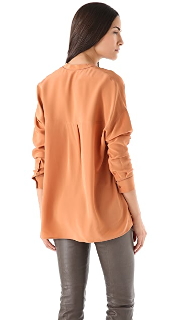 Vince V Neck Silk Blouse