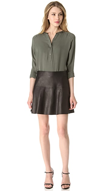 Vince Leather Flare Skirt